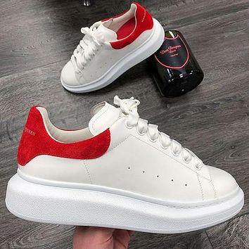 Alexander McQueen classic stitching color men women's platform casual shoes Red