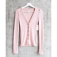Free People - Call Me Cardi Fitted Button Down Cardigan Top - Pink