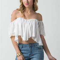 (amw) Off shoulder short sleeves cropped white top