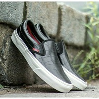Vans Classic Slip On (Croc Leather) Black Womens Casual Shoes