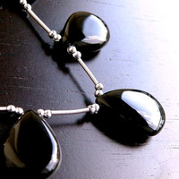 Black Chalcedony Briolette Gemstone Smooth 3-D Drop Pear Large Focal 17mm Set of 4