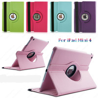 Tablet Case For iPad Mini 4 Case 360 Rotation PU Leather case for Apple Smart cover iPad Mini 4 flip case with stand function
