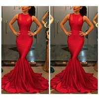 Women Long Mermaid Evening Formal Cocktail Party Prom Ball Gown Bridesmaid Dress