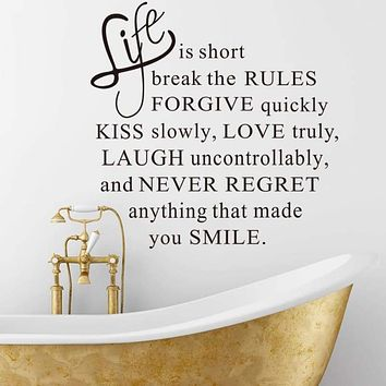 Life Is Short Removable Wall Sticker Decals