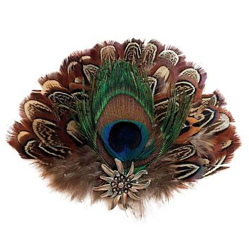 Deluxe Hat Pin Feather with Peacock & Brown Fedora Feathers
