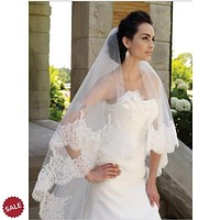 Two Layers Applique Edge Lace Bridal Wedding Veil with Comb