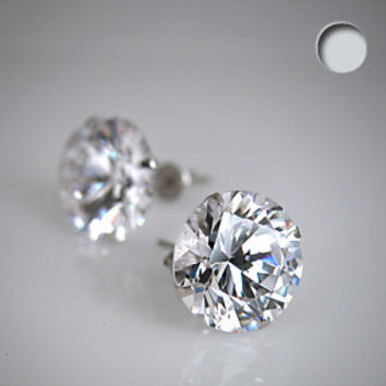 Clear 925 Sterling Silver .47 Carat Cubic Zirconia ROUND Stud Earrings   Body Candy Body Jewelry