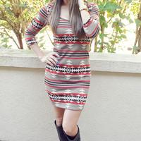 Gotta Get Out Of Here Sweater Dress: Multi