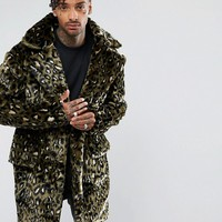 The New County Jacket In Leopard Teddy Faux Fur at asos.com