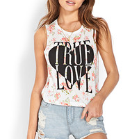 FOREVER 21 True Love Muscle Tee White/Coral