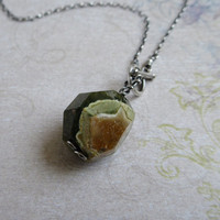 Rhyolite Necklace , Rainforest Jasper Necklace , Sterling Silver, Toggle Necklace, Rustic Wire Wrapped Jewelry