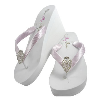 Lavender & Vintage Lace Bride & Bridesmaid Flip Flops with Platform Wedged Heel