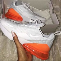 Nike Air Max 270 Trending Women Men Personality Air Cushion Sport Running Shoe Sneakers White Orange