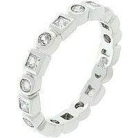 Rhodium Plated Eternity Stackable Band
