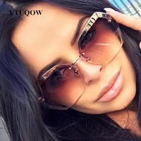 2019 New Arrival Luxury Rimless Sunglasses For Women Brand Designer Vintage Sun Glasses Female Sunglasses Sun Glasses For Women