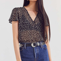 Ecote Sheer Floral Short Sleeve Top   Urban Outfitters