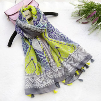 New Design Acrylic Cotton Long Tassels Scarf