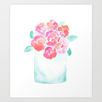 Valentine's Day Flowers Art Print by Hello Monday
