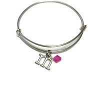 Kid's Alex and Ani - Toddler Alex and Ani - Kid's Adjustable Bracelet - Kid's Jewelry - Initial Birthstone Bangle - Silver Bangle for Kids