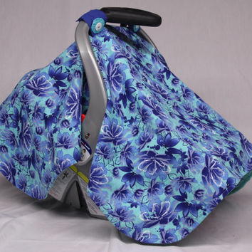 Aqua, Blue Flower Baby Car Seat Canopy, Floral, Baby Shower Gift, Infant Car Seat Canopies