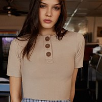 UO Rina Ribbed Knit Button-Down Tee   Urban Outfitters