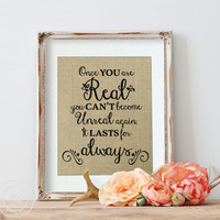 "Love Quote on Burlap for a Personalized Wedding,Velveteen Rabbit ""Once You Are Real"", Margery Williams, Wedding Ideas"