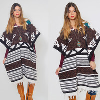 Vintage MEXICAN Poncho Ethnic Hippie Mexican Blanket TRIBAL Southwestern Poncho with FRINGE