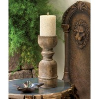 Chunky Unstained Wooden Pillar Candle Holder