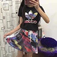 Adidas Women Los Angeles Psychedelic Print Top Skirt Set Two-Piece