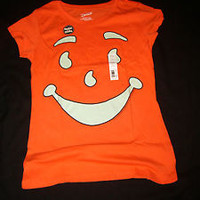 NEW JUNIORS XL 15-17 OR 2XL 19 ORANGE T-SHIRT KOOL AID FACE GLOW IN THE DARK