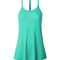 LE3NO Womens Lightweight Loose Braid Center Back Tank Top