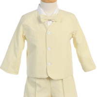 Light Yellow Cotton Seersucker Eton Jacket & Shorts 4 Piece Outfit (Baby 6 months to Boys size 6)