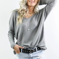 The Loving Kind Gray Long Sleeve V-Neck Waffle Knit Top