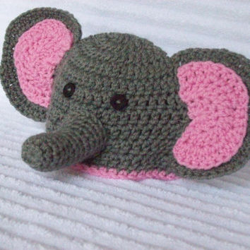 Baby Elephant hat, newborn elephant beanie, crochet elephant hat, newborn photo prop, newborn elephant hat, crochet elephant beanie