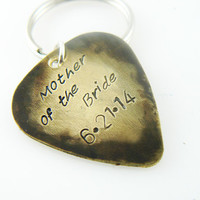 Mother of the Bride Pick Keychain, Hand Stamped Key Chain, Custom Key Ring, Personalized, Brass or Aluminum
