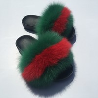 GG fox fur slides
