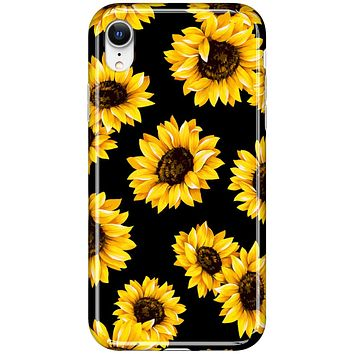 LUMARKE iPhone XR Case,Cute Sunflower Floral for Girls Women,Soft TPU Cover Slim Fit Protective Phone Case for iPhone XR