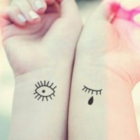 2pcs Set Cute Crying eyes - InknArt Temporary Tattoo - pack tattoo collection quote wrist neck ankle body sticker fake tattoo