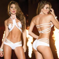 Women Personality Temptation Multi-rope Hollow Bandage Halter Solid Color Erotic Underwear Lingerie Set