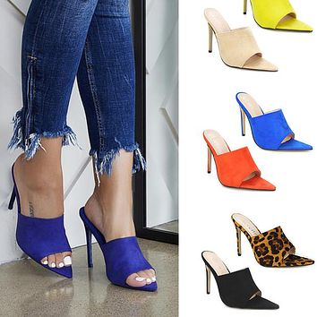 New Design Sandals Candy Leopard Slippers Large Women Shoes High Heel Sandals