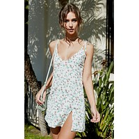 Fashion Strap Sleeveless V-Neck Floral Print Split Mini Dress