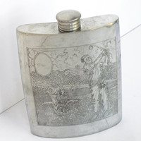 Vintage Engraved Whisky Golf Scene Golf Decor Sheffield England Metal Pewter Hip Flask