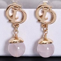 Dior CD New fashion letter long earring women Golden