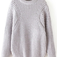 Grey Knit Long Sleeve Sweater