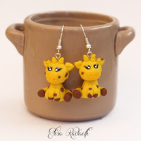 STUBBY giraffe earrings - polymer clay