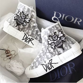 Dior B23 Oblique high-top canvas embroidered bee logo running shoes