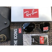 Ray-Ban Sunglasses Aviator Gold Frame with Black Color Lens