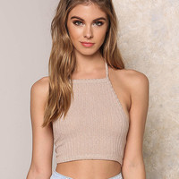 Taupe Ribbed Knit Halter Crop Top