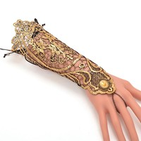 1pc Vintage Gothic Queen Golden Lace Gloves Medieval Victorian Armband Cosplay Accessory