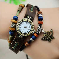Vintage Style Leather Belt Watch with Butterfly Pendant